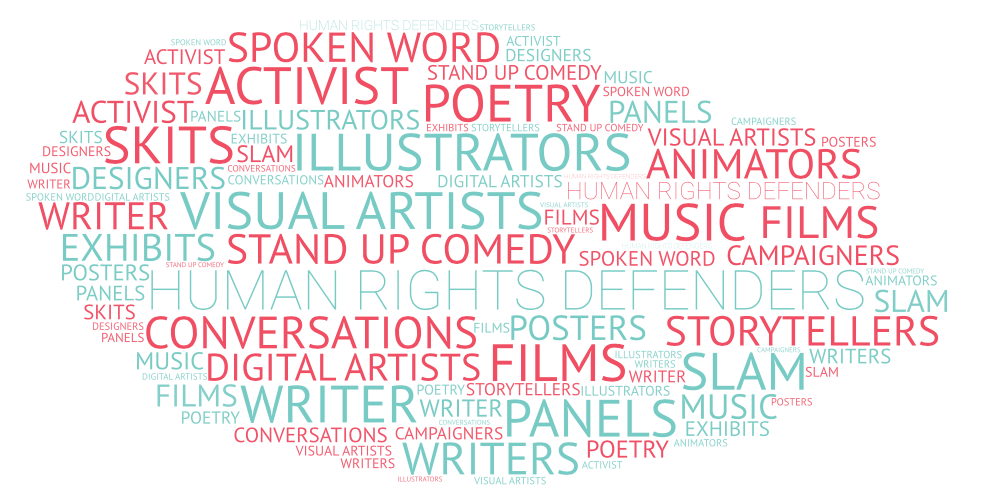 word cloud with the words FILMS STAND UP COMEDY ACTIVISTS MUSIC CONVERSATIONS PANELS SPOKEN WORD STORYTELLERS DIGITAL ARTISTS SKITS POETRY ANIMATOR SLAM HUMAN RIGHTS DEFENDERS DANCERS ILLUSTRATORS WRITERS EXHIBITS POSTERS VISUAL ARTISTS