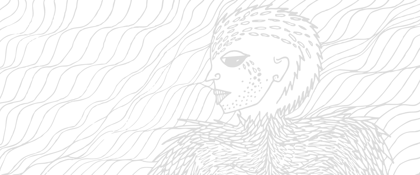 gray digital pattern design of head of a woman with birdlike figure with shoulders covered in feathers
