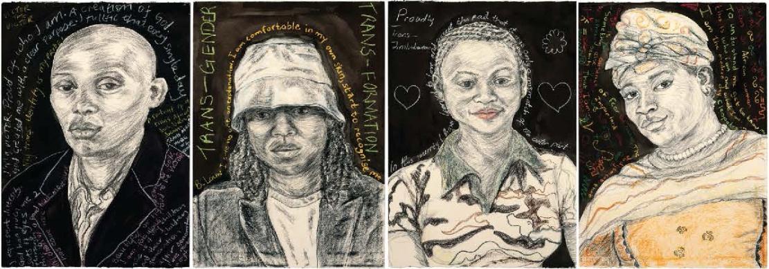 four trans african portraits drawn by garbielle le roux